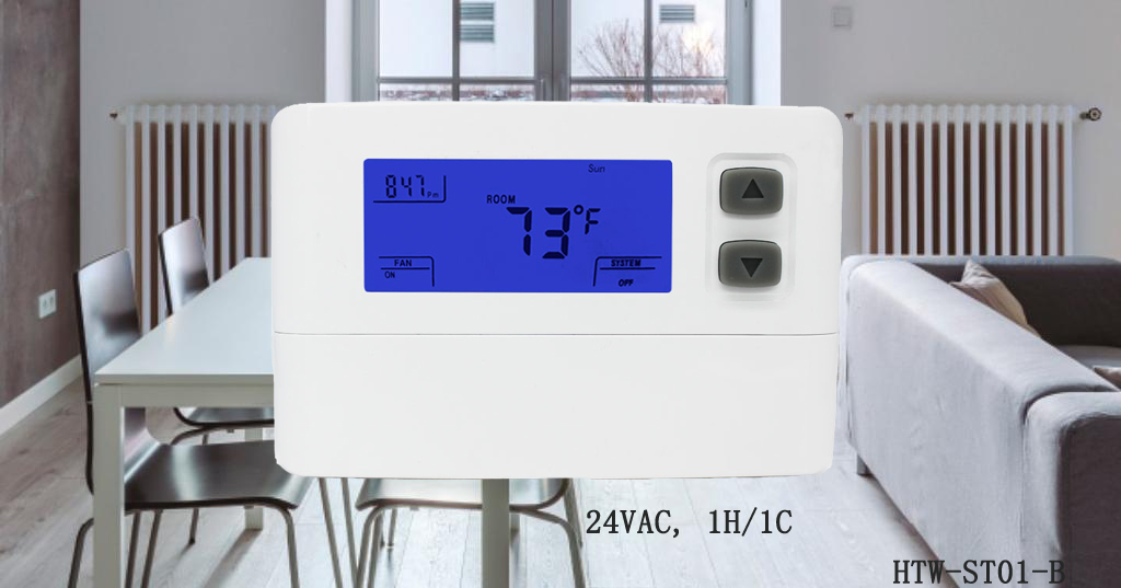 24vac Best Programmable Single Stage Room Thermostat For Heat Pump With Emergency Heat