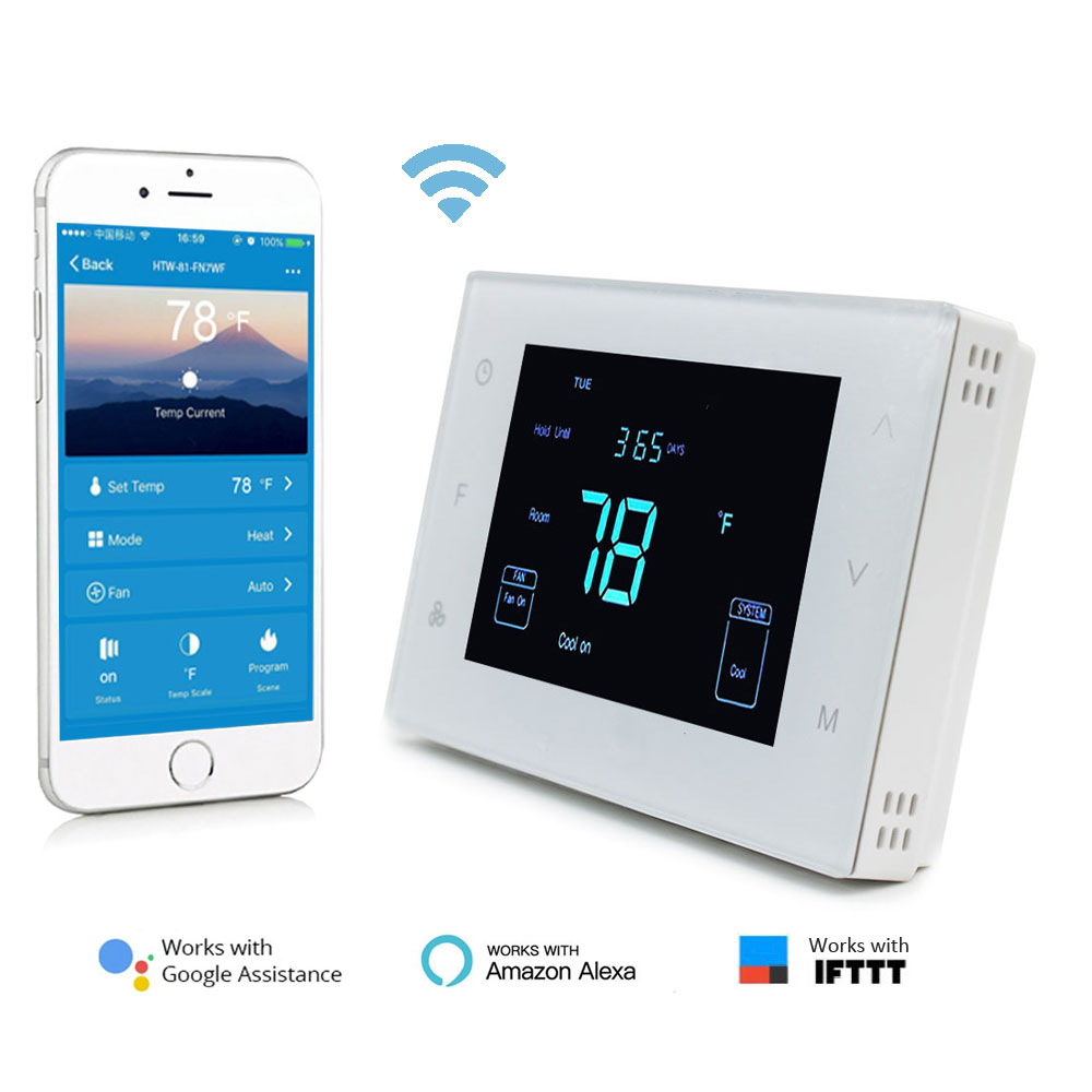 24V Wifi Smartphone app room thermostat for heat pump or wall furnace