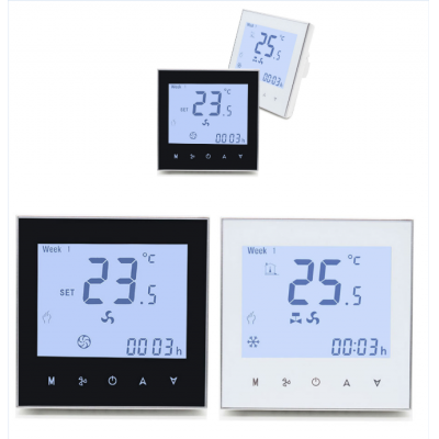 Touch Screen Fan Coil Unit Wifi Programmable Thermostat With Modbus Option